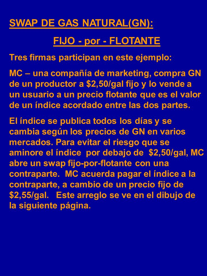 SWAP DE GAS NATURAL(GN): FIJO - por - FLOTANTE