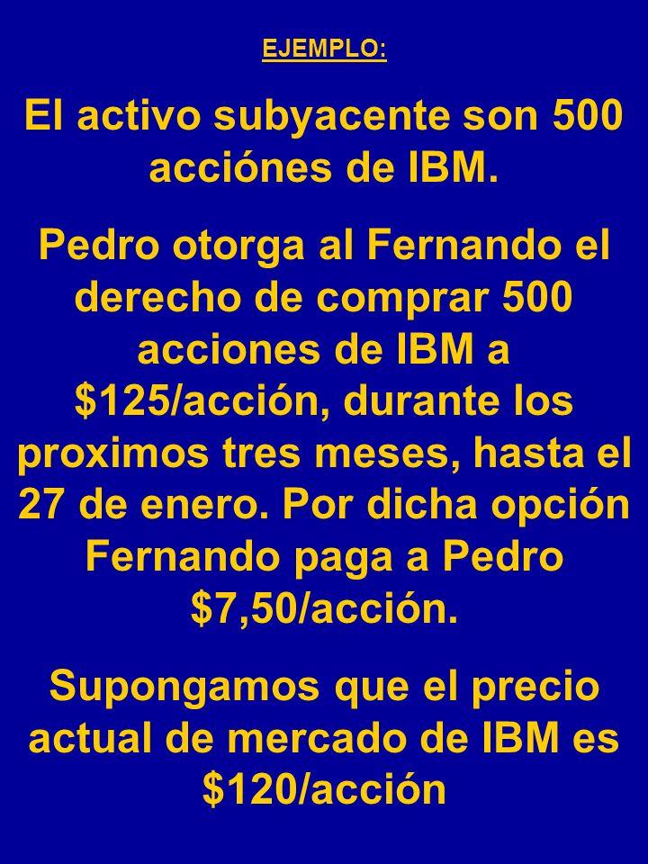 El activo subyacente son 500 acciónes de IBM.