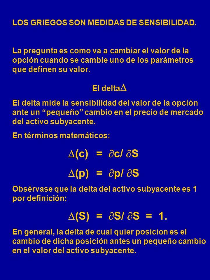(p) = p/ S LOS GRIEGOS SON MEDIDAS DE SENSIBILIDAD.