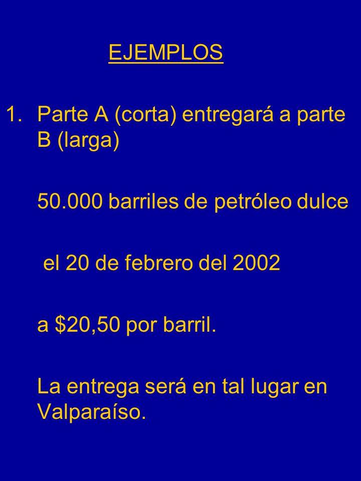 EJEMPLOS Parte A (corta) entregará a parte B (larga) 50.000 barriles de petróleo dulce. el 20 de febrero del 2002.