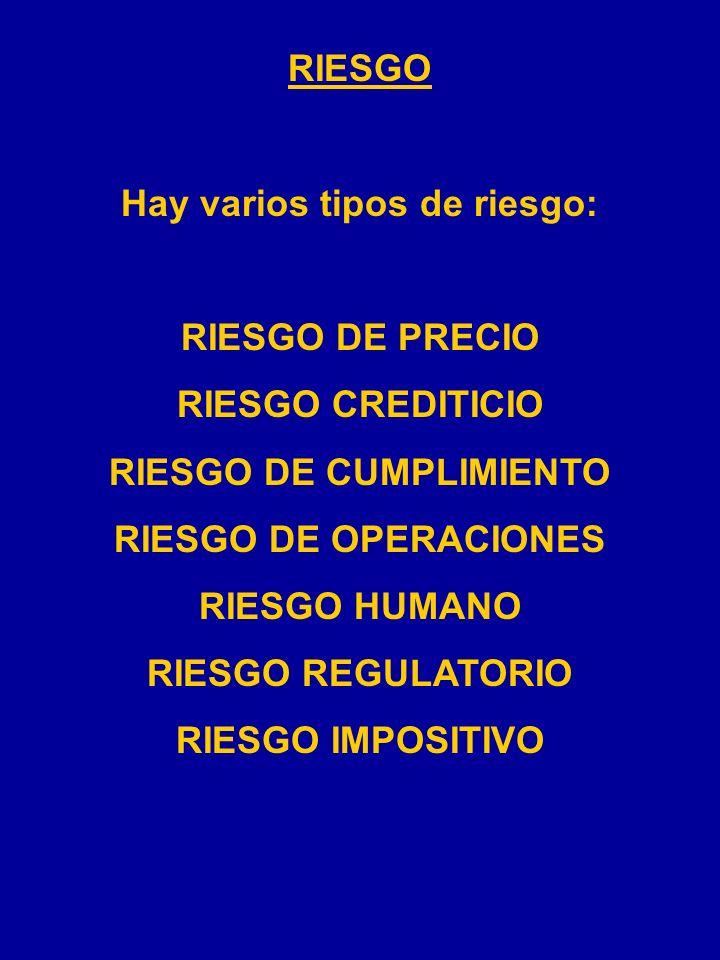 Hay varios tipos de riesgo: RIESGO DE CUMPLIMIENTO