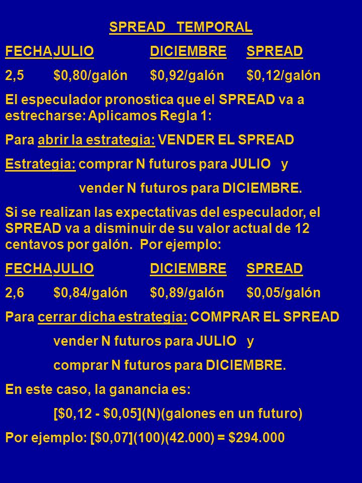 SPREAD TEMPORAL FECHA JULIO DICIEMBRE SPREAD. 2,5 $0,80/galón $0,92/galón $0,12/galón.