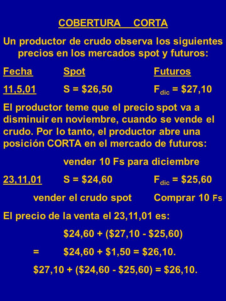 COBERTURA CORTA Un productor de crudo observa los siguientes precios en los mercados spot y futuros: