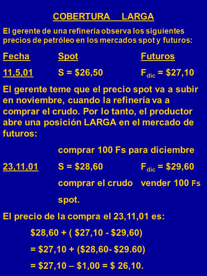 comprar 100 Fs para diciembre 23,11,01 S = $28,60 Fdic = $29,60