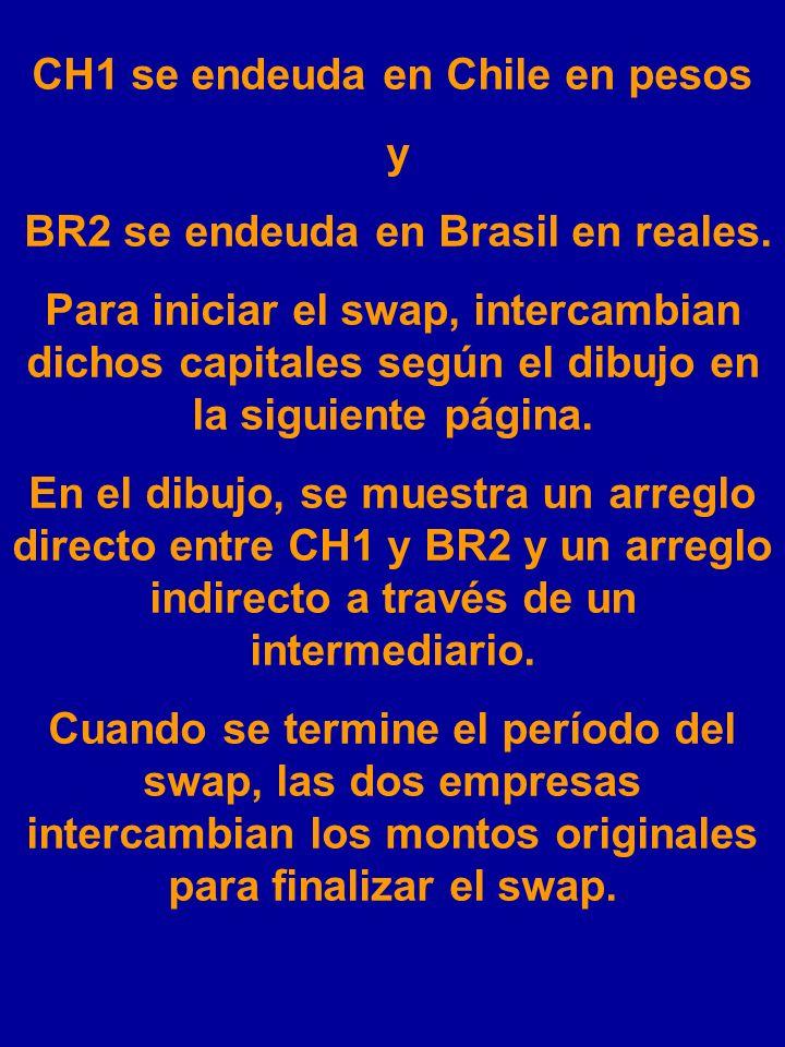 CH1 se endeuda en Chile en pesos BR2 se endeuda en Brasil en reales.