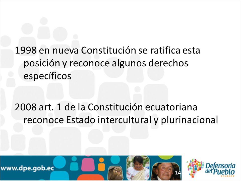 1998 en nueva Constitución se ratifica esta posición y reconoce algunos derechos específicos