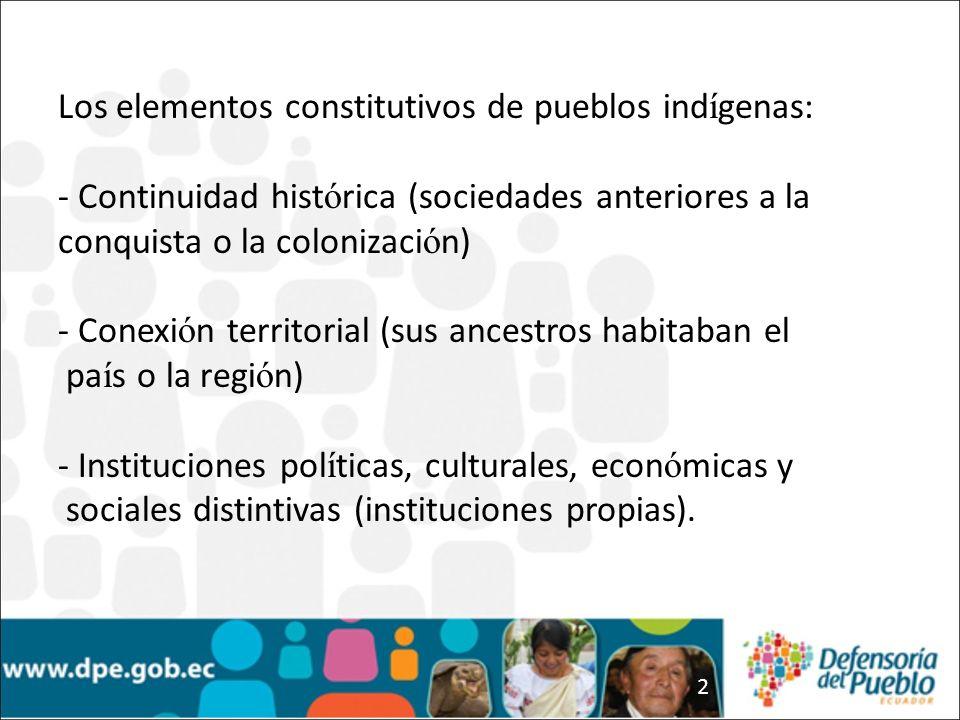 Los elementos constitutivos de pueblos indígenas: