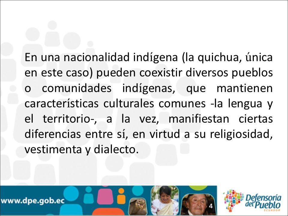 En una nacionalidad indígena (la quichua, única en este caso) pueden coexistir diversos pueblos o comunidades indígenas, que mantienen características culturales comunes -la lengua y el territorio-, a la vez, manifiestan ciertas diferencias entre sí, en virtud a su religiosidad, vestimenta y dialecto.