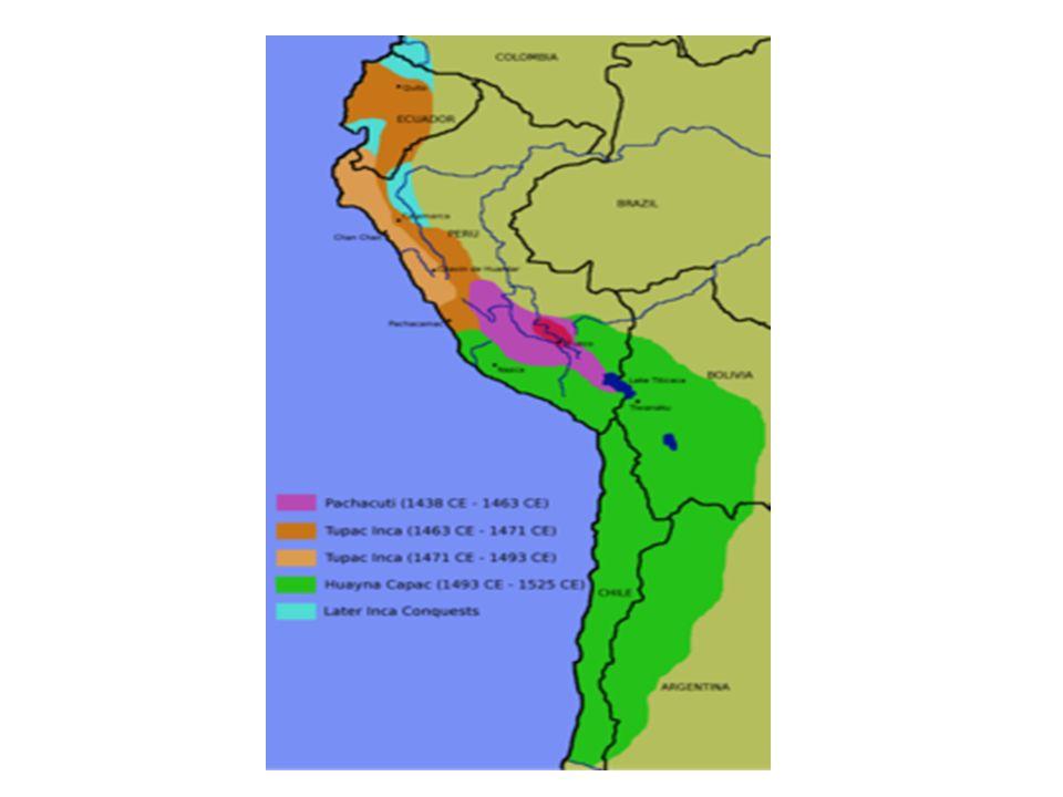 Todos ellos concuerdan que a la llegada de los espanoles, el imperio incaico se extendia por el norte desde Colombia y por el sur hasta Chile.