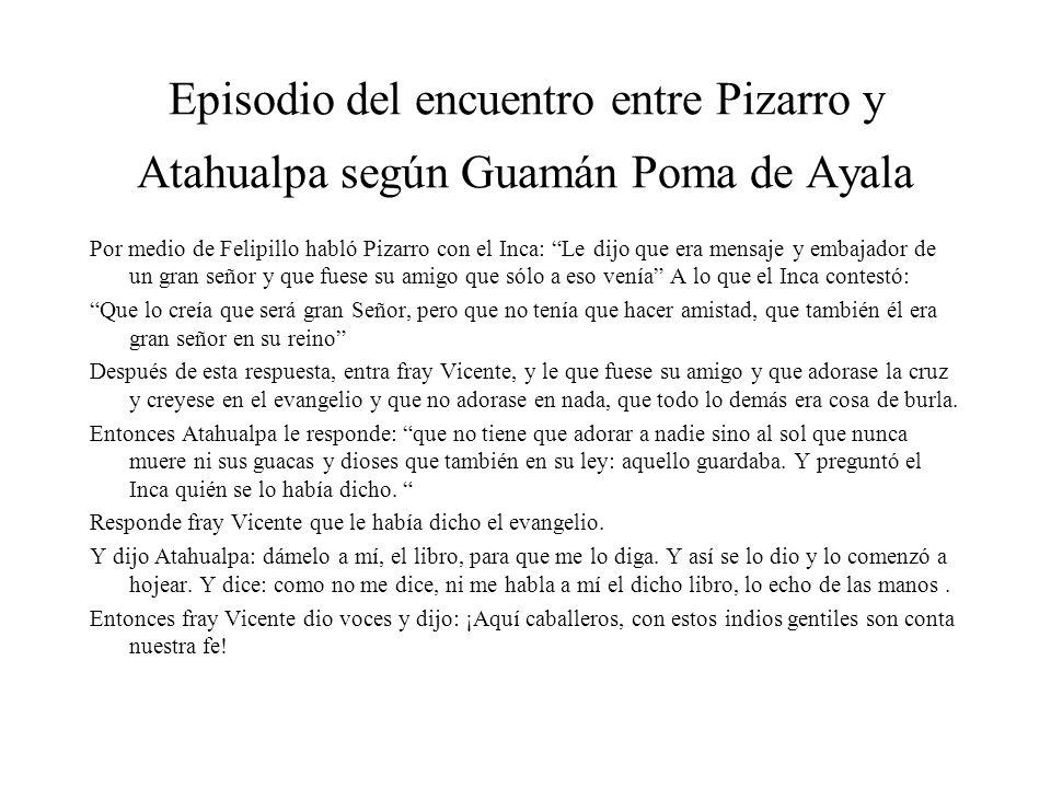 Episodio del encuentro entre Pizarro y Atahualpa según Guamán Poma de Ayala