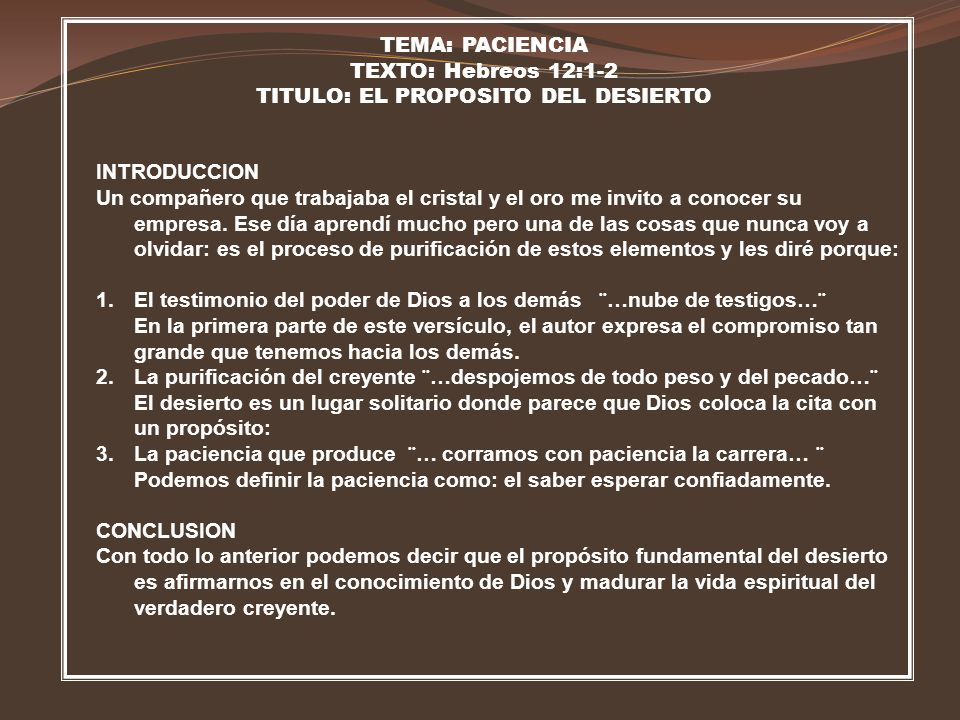 TITULO: EL PROPOSITO DEL DESIERTO