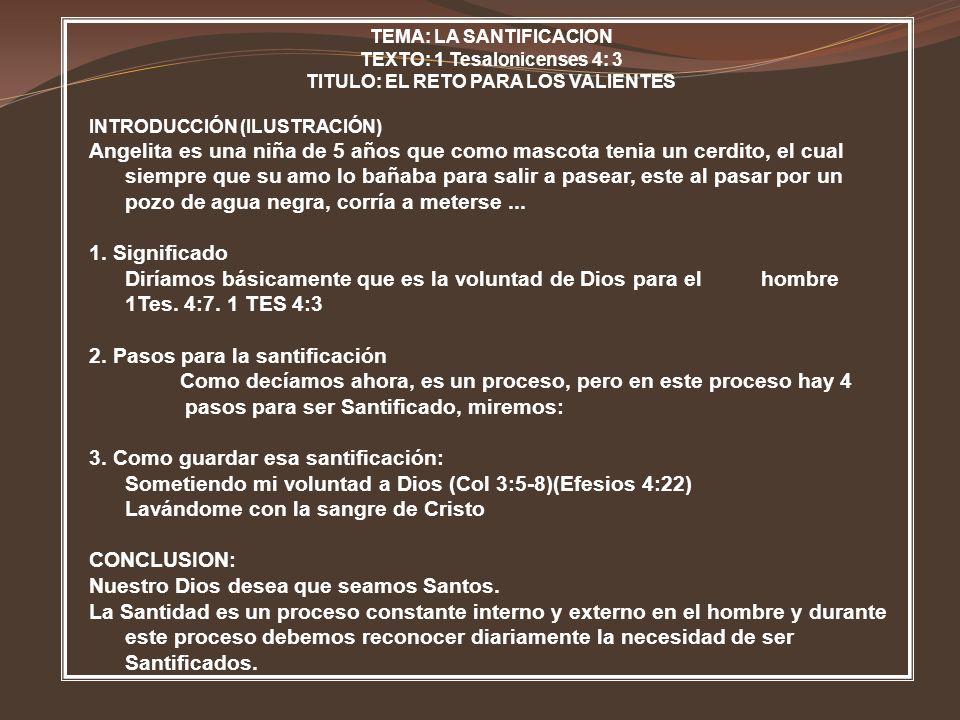 2. Pasos para la santificación