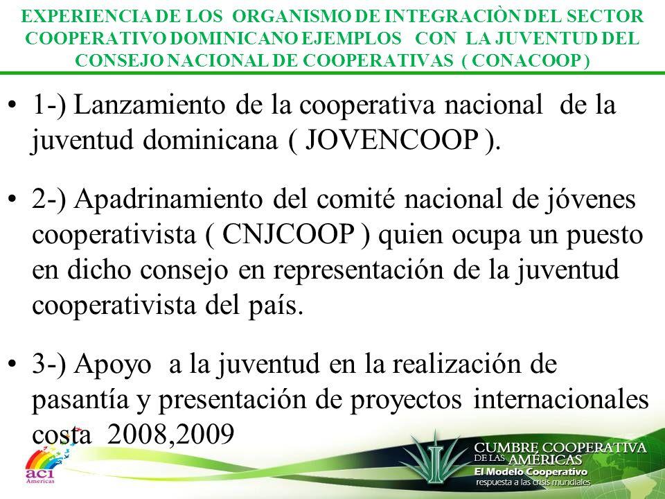 EXPERIENCIA DE LOS ORGANISMO DE INTEGRACIÒN DEL SECTOR COOPERATIVO DOMINICANO EJEMPLOS CON LA JUVENTUD DEL CONSEJO NACIONAL DE COOPERATIVAS ( CONACOOP )