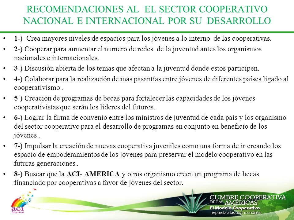 RECOMENDACIONES AL EL SECTOR COOPERATIVO NACIONAL E INTERNACIONAL POR SU DESARROLLO