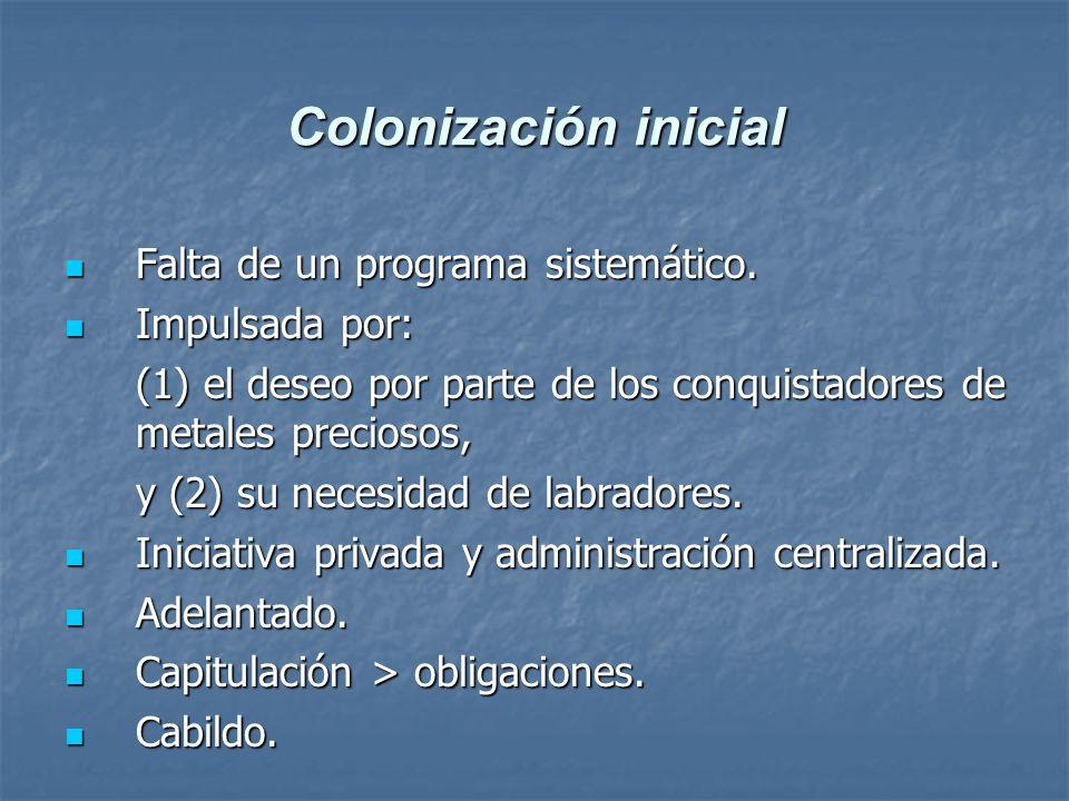 Colonización inicial Falta de un programa sistemático. Impulsada por: