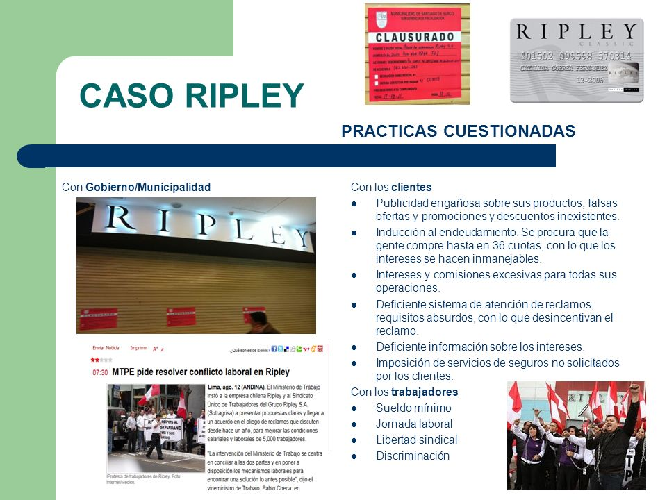 CASO RIPLEY PRACTICAS CUESTIONADAS Con Gobierno/Municipalidad