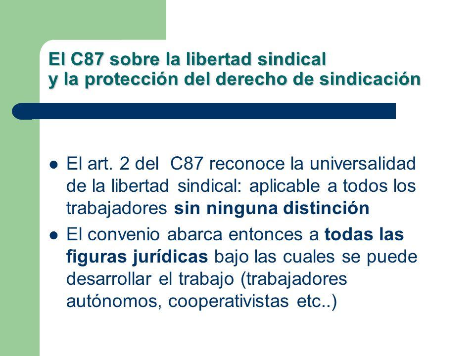 El C87 sobre la libertad sindical y la protección del derecho de sindicación