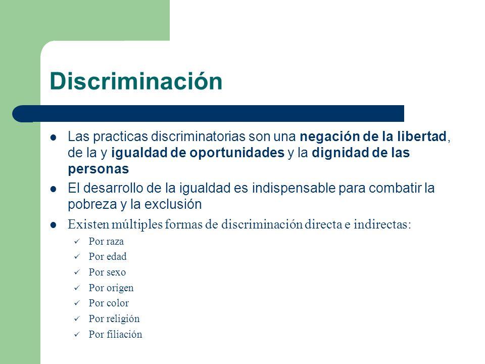 DiscriminaciónLas practicas discriminatorias son una negación de la libertad, de la y igualdad de oportunidades y la dignidad de las personas.