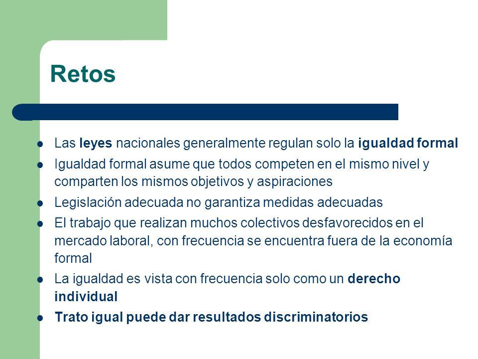 RetosLas leyes nacionales generalmente regulan solo la igualdad formal.