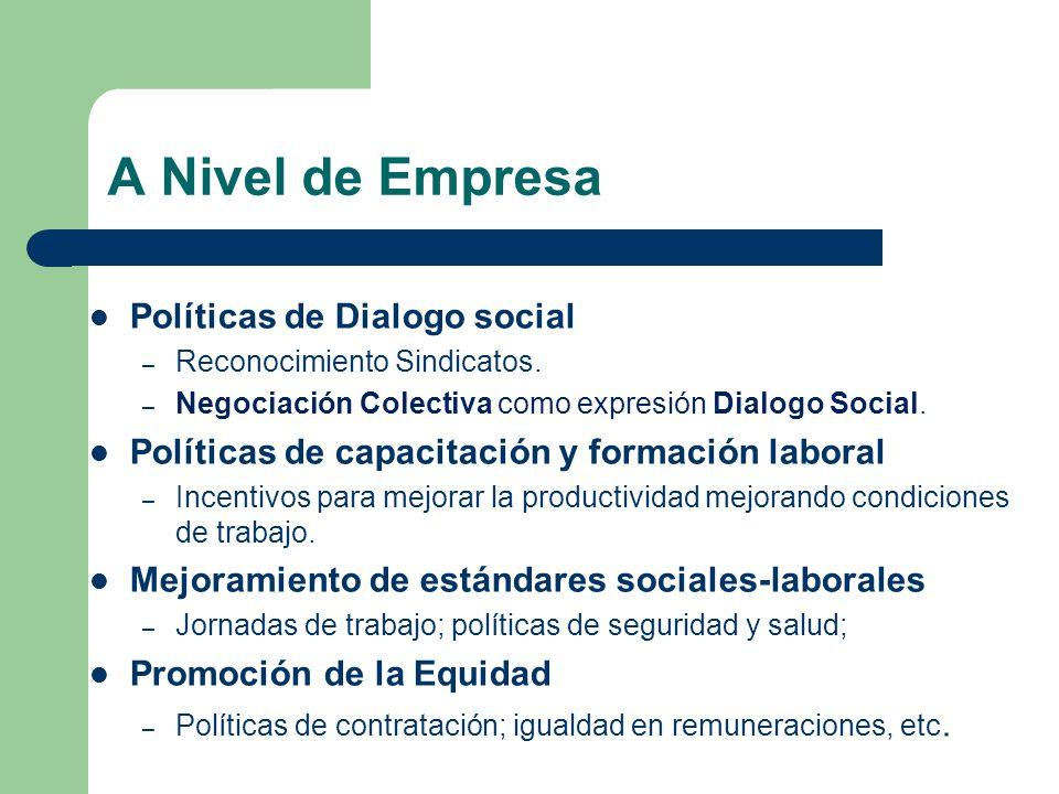 A Nivel de Empresa Políticas de Dialogo social