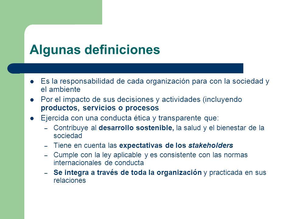 Algunas definiciones Es la responsabilidad de cada organización para con la sociedad y el ambiente.