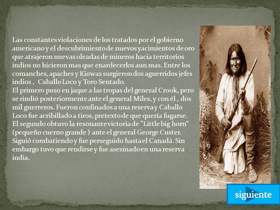 Las constantes violaciones de los tratados por el gobierno americano y el descubrimiento de nuevos yacimientos de oro que atrajeron nuevas oleadas de mineros hacia territorios indios no hicieron mas que enardecerlos aun mas. Entre los comanches, apaches y Kiowas surgieron dos aguerridos jefes indios , Caballo Loco y Toro Sentado.