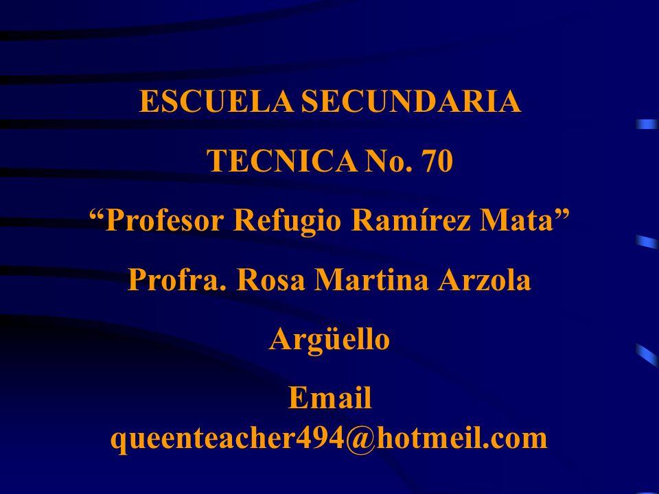 Profesor Refugio Ramírez Mata Profra. Rosa Martina Arzola Argüello
