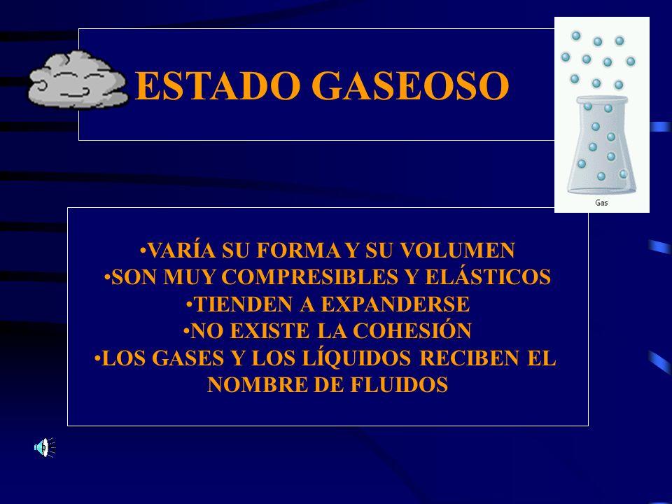 ESTADO GASEOSO VARÍA SU FORMA Y SU VOLUMEN