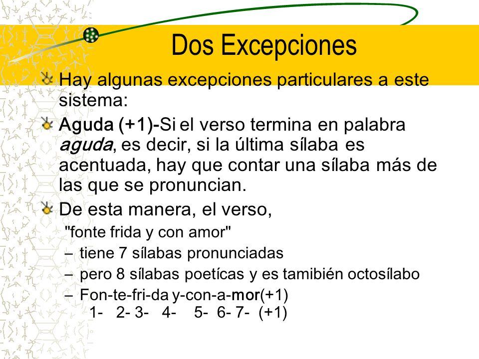 Dos Excepciones Hay algunas excepciones particulares a este sistema: