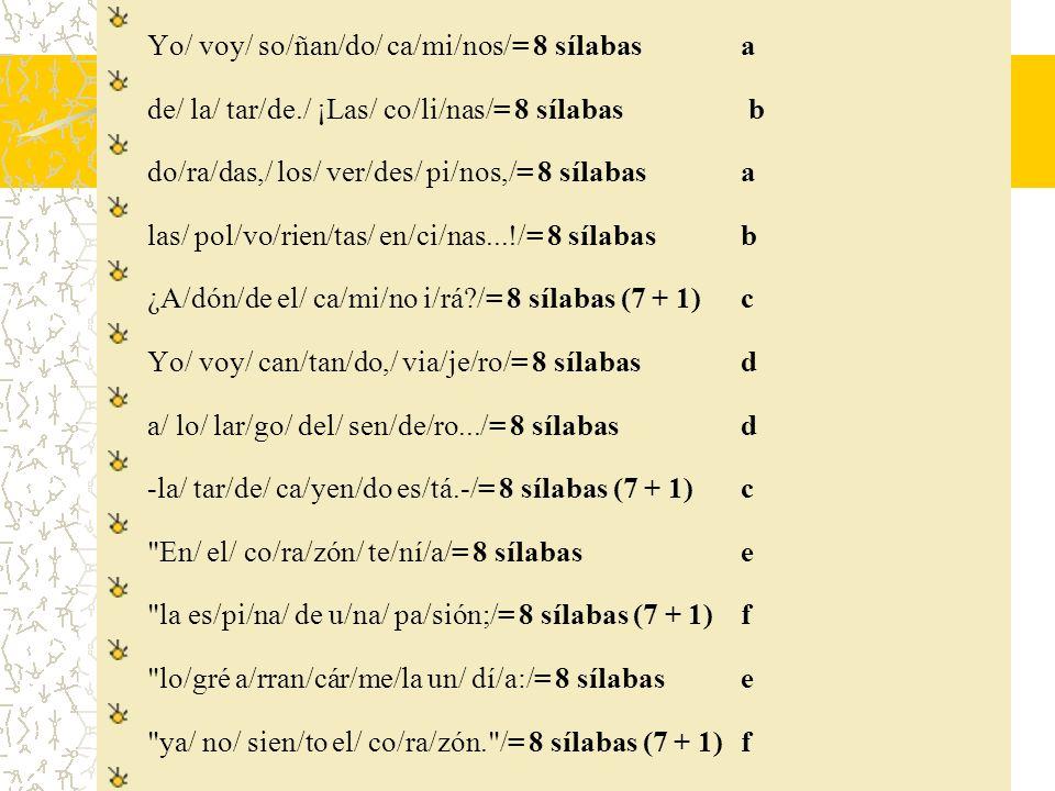 Yo/ voy/ so/ñan/do/ ca/mi/nos/= 8 sílabas a