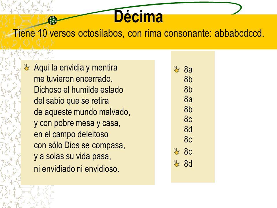 Décima Tiene 10 versos octosílabos, con rima consonante: abbabcdccd.
