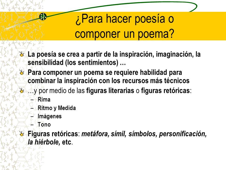 ¿Para hacer poesía o componer un poema
