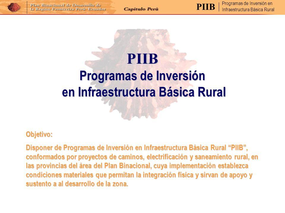 Programas de Inversión en Infraestructura Básica Rural