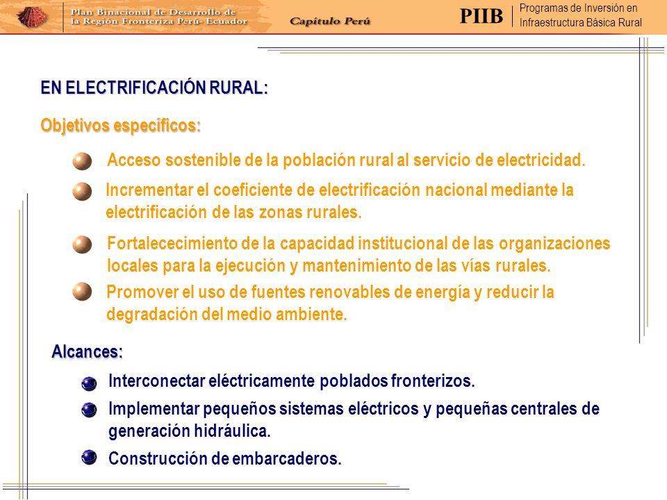 PIIB EN ELECTRIFICACIÓN RURAL: Objetivos específicos: