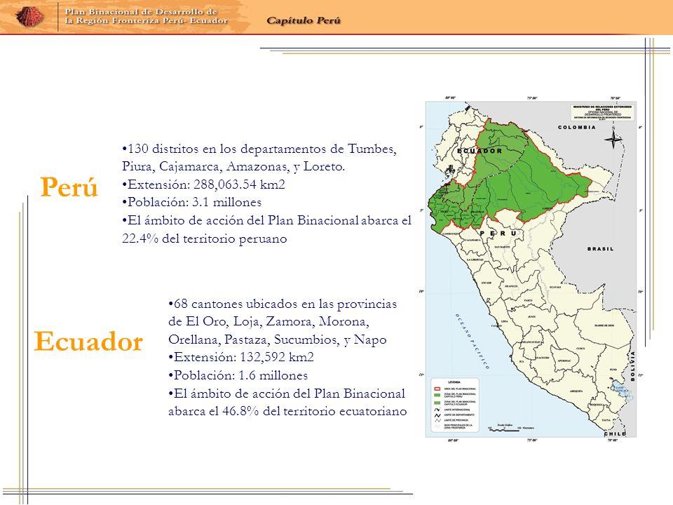 130 distritos en los departamentos de Tumbes, Piura, Cajamarca, Amazonas, y Loreto.