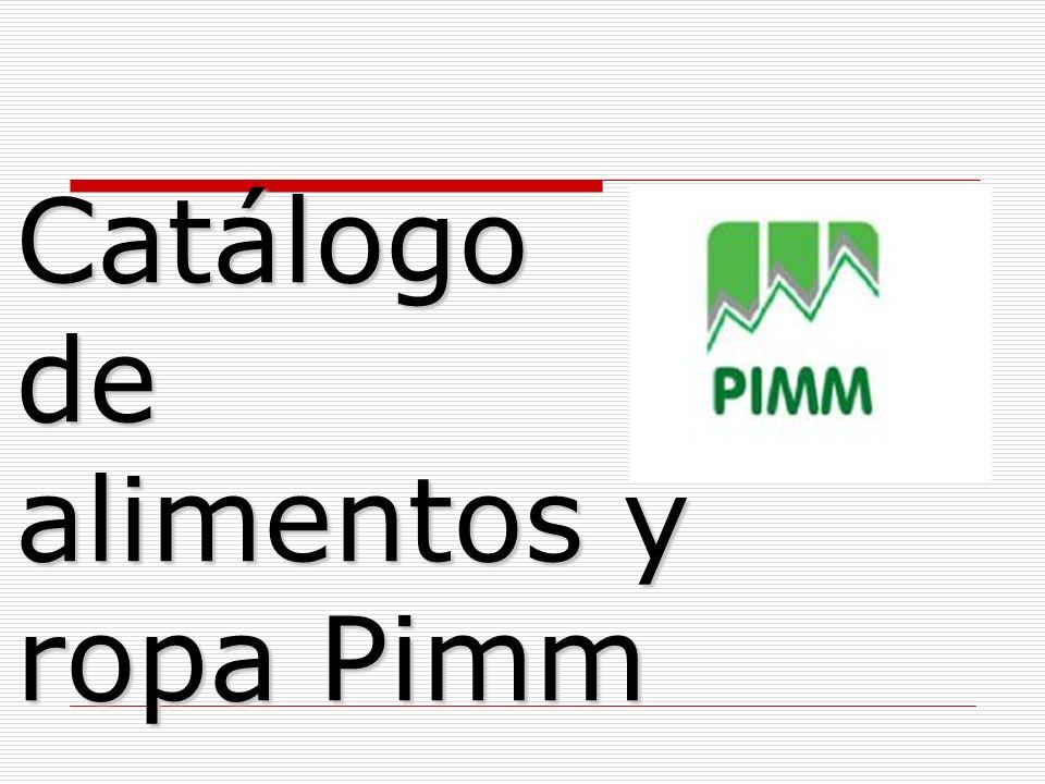 Catálogo de alimentos y ropa Pimm