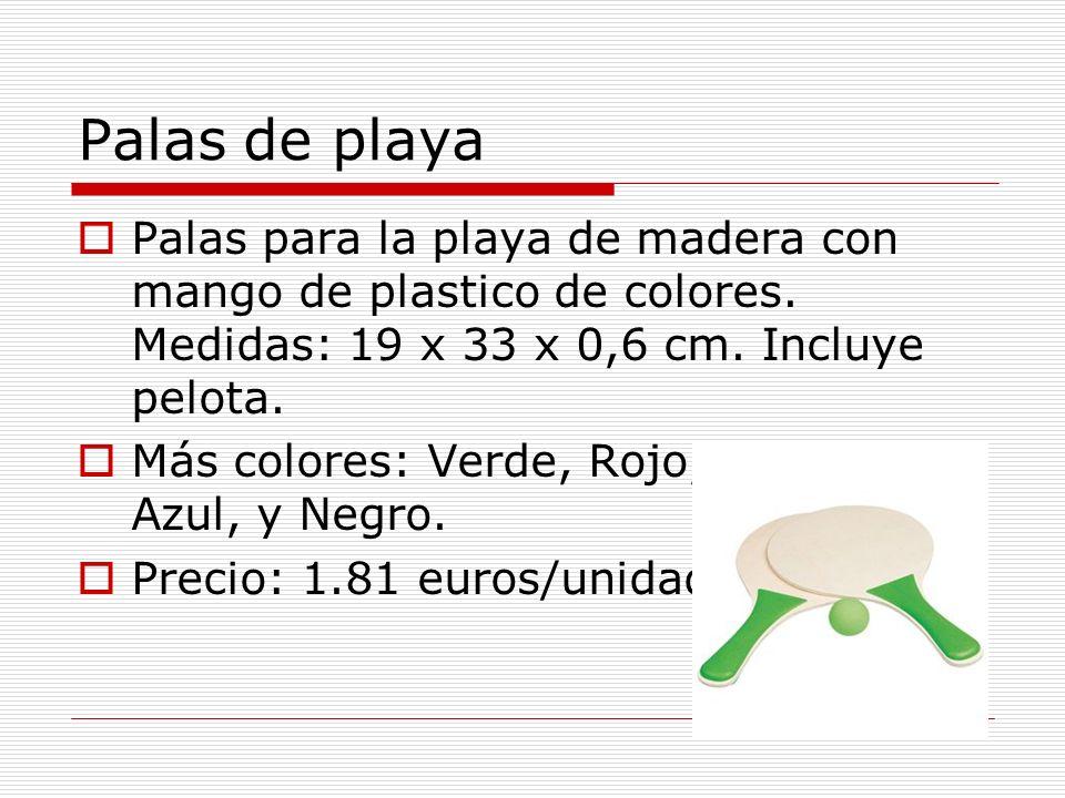 Palas de playa Palas para la playa de madera con mango de plastico de colores. Medidas: 19 x 33 x 0,6 cm. Incluye pelota.
