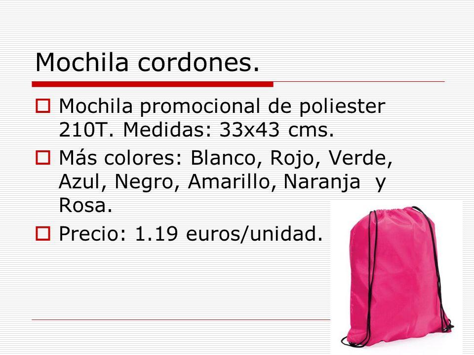 Mochila cordones. Mochila promocional de poliester 210T. Medidas: 33x43 cms.