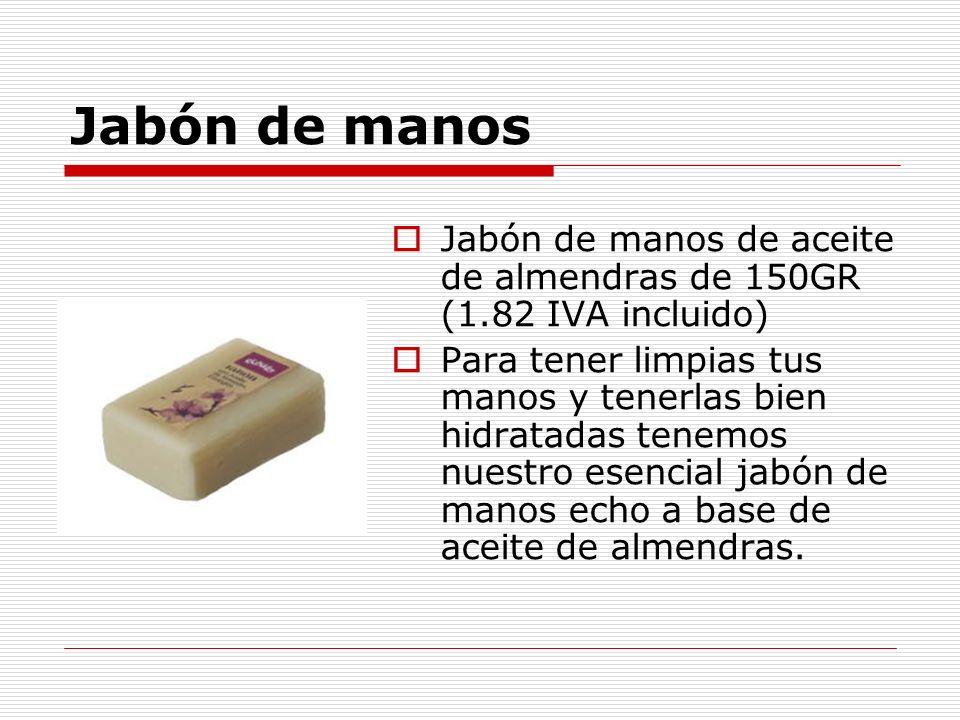 Jabón de manos Jabón de manos de aceite de almendras de 150GR (1.82 IVA incluido)