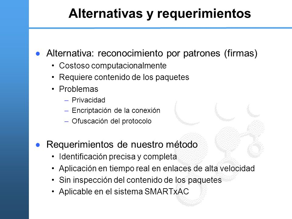 Alternativas y requerimientos