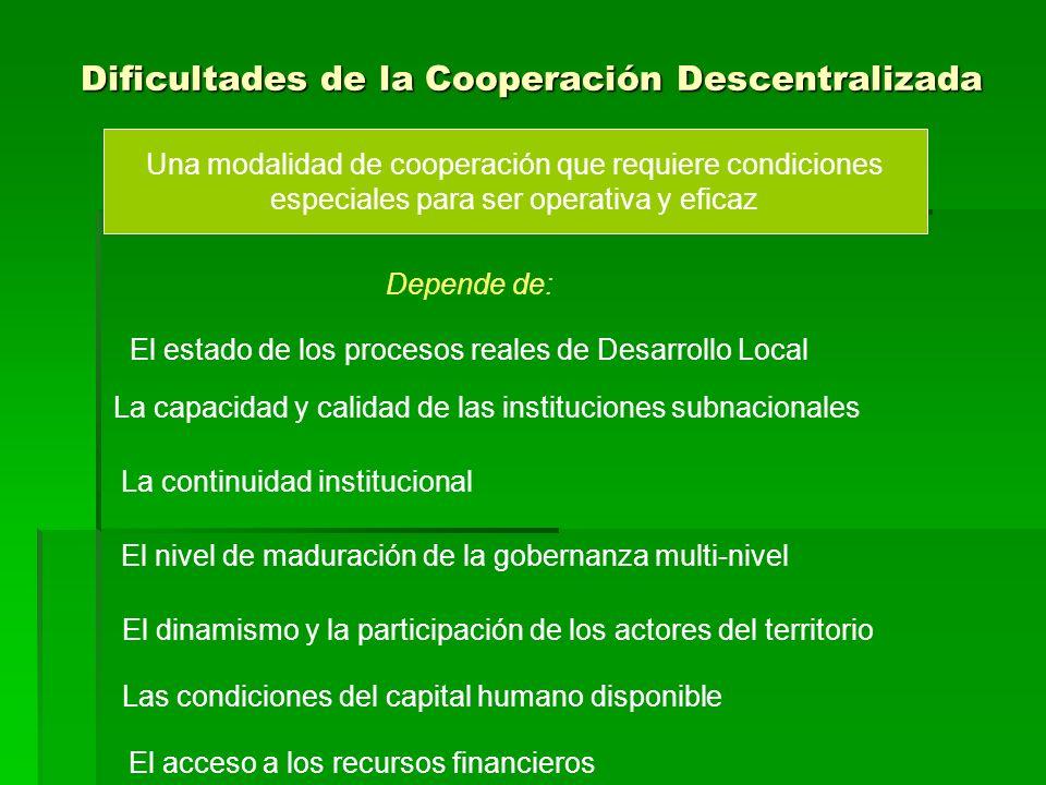 Dificultades de la Cooperación Descentralizada