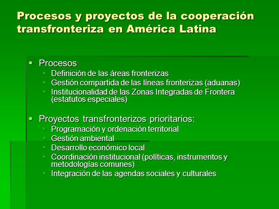 Procesos y proyectos de la cooperación transfronteriza en América Latina