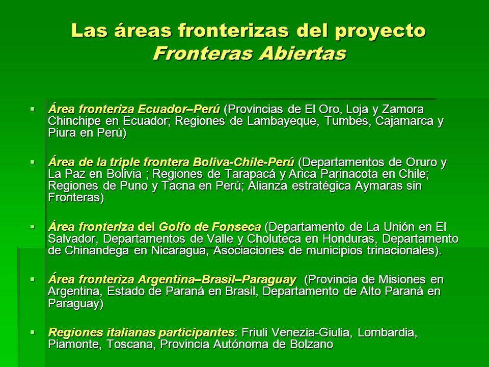 Las áreas fronterizas del proyecto Fronteras Abiertas