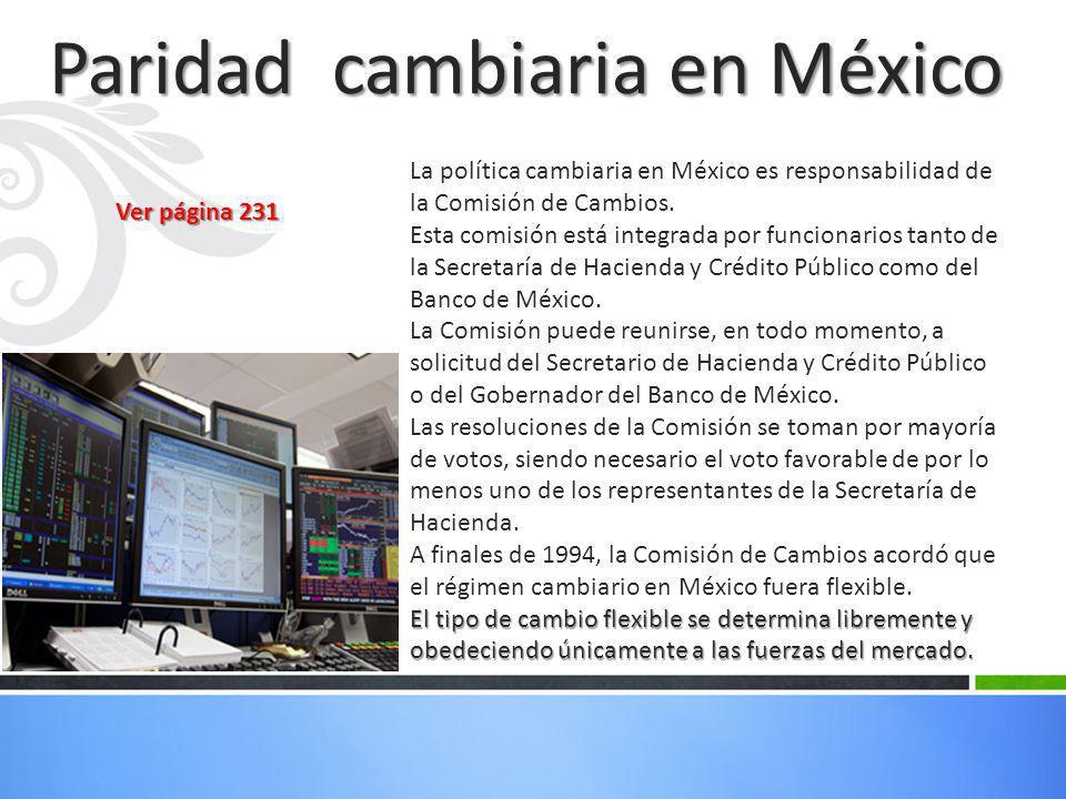 Paridad cambiaria en México