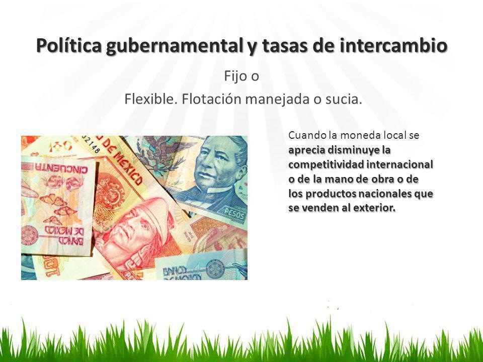 Política gubernamental y tasas de intercambio