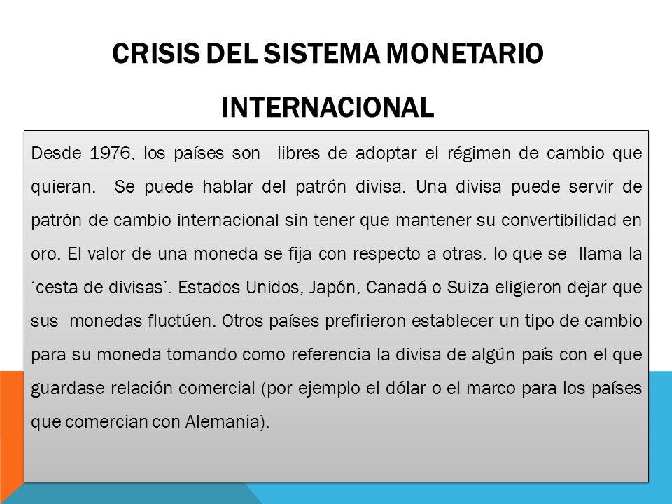 CRISIS del sistema monetario internacional