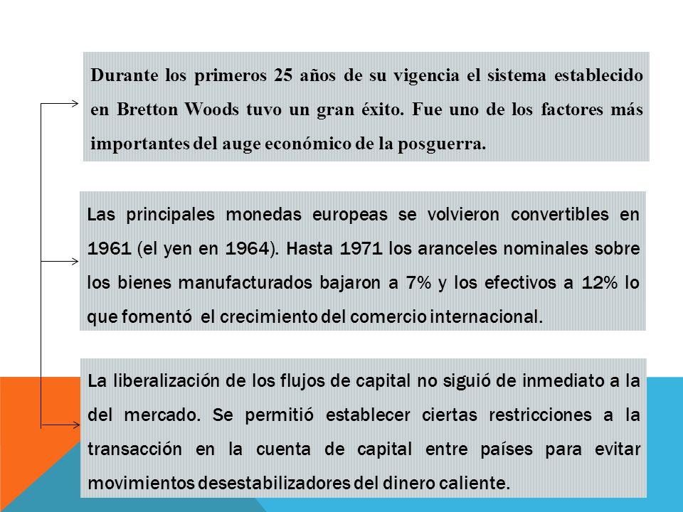 Durante los primeros 25 años de su vigencia el sistema establecido en Bretton Woods tuvo un gran éxito. Fue uno de los factores más importantes del auge económico de la posguerra.