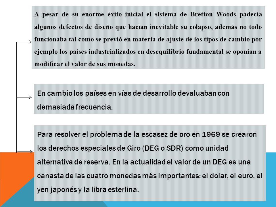 A pesar de su enorme éxito inicial el sistema de Bretton Woods padecía algunos defectos de diseño que hacían inevitable su colapso, además no todo funcionaba tal como se previó en materia de ajuste de los tipos de cambio por ejemplo los países industrializados en desequilibrio fundamental se oponían a modificar el valor de sus monedas.