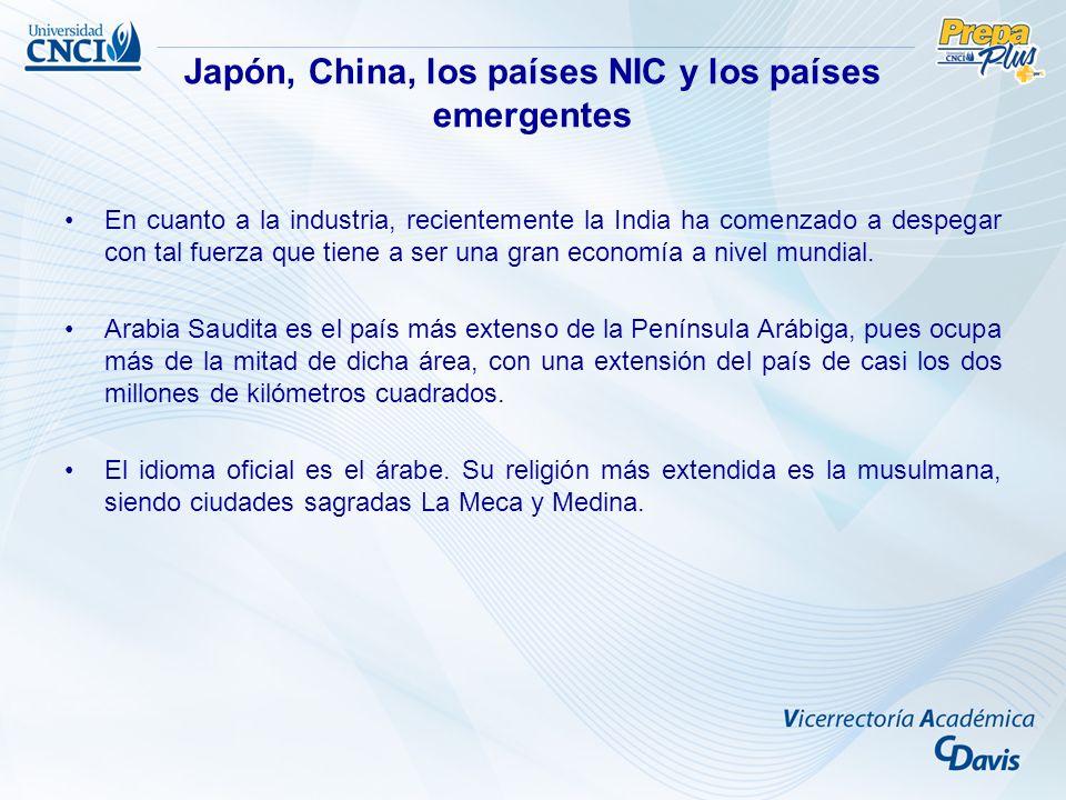 Japón, China, los países NIC y los países emergentes