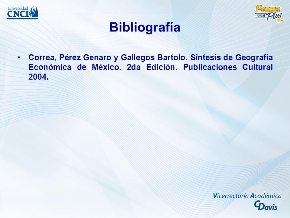 Bibliografía Correa, Pérez Genaro y Gallegos Bartolo.